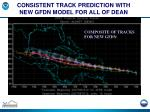 consistent track prediction with new gfdn model for all of dean