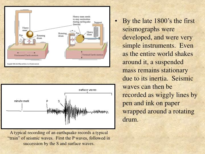 By the late 1800's the first seismographs were developed, and were very simple instruments.  Even as the entire world shakes around it, a suspended mass remains stationary due to its inertia.  Seismic waves can then be recorded as wiggly lines by pen and ink on paper wrapped around a rotating drum.