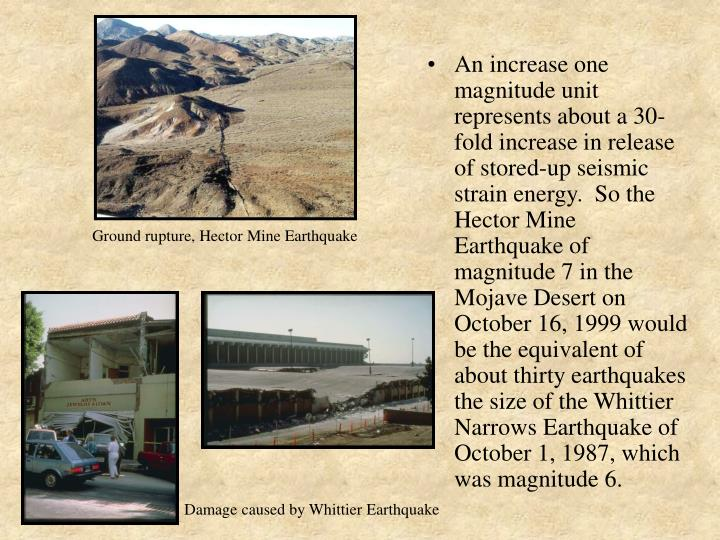 An increase one magnitude unit represents about a 30-fold increase in release of stored-up seismic strain energy.  So the Hector Mine Earthquake of magnitude 7 in the Mojave Desert on October 16, 1999 would be the equivalent of about thirty earthquakes the size of the Whittier Narrows Earthquake of October 1, 1987, which was magnitude 6.