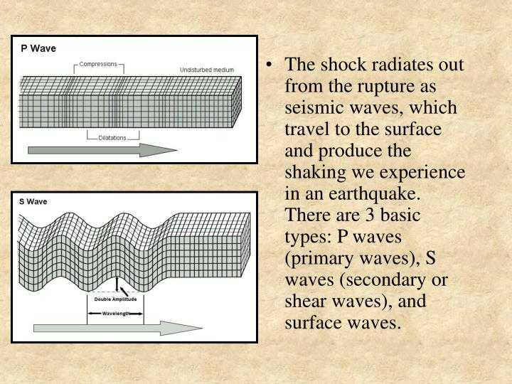 The shock radiates out from the rupture as seismic waves, which travel to the surface and produce the shaking we experience in an earthquake.  There are 3 basic types: P waves (primary waves), S waves (secondary or shear waves), and surface waves.