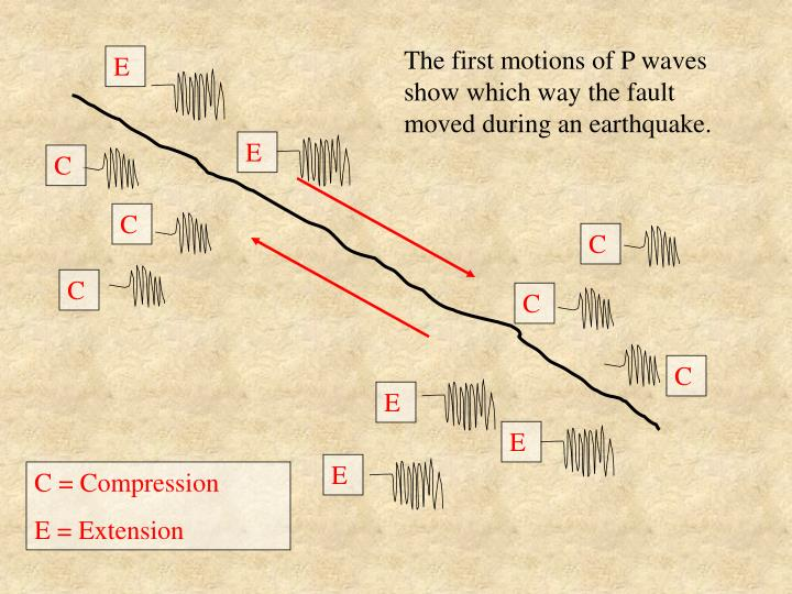 The first motions of P waves show which way the fault moved during an earthquake.