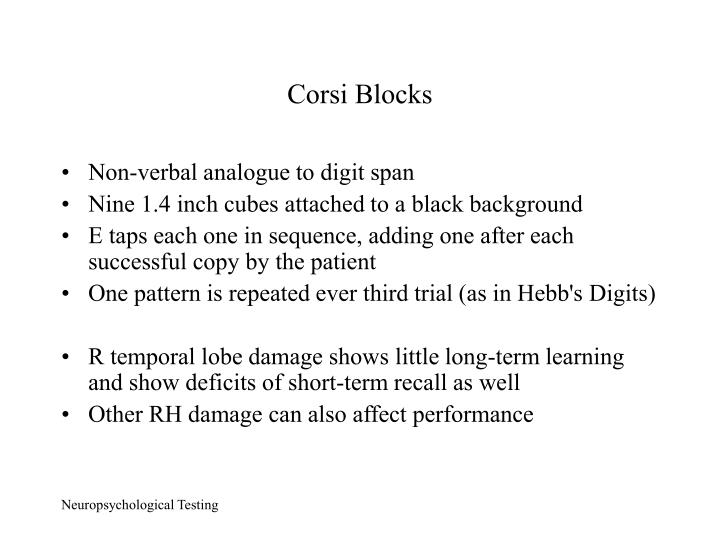 Corsi Blocks