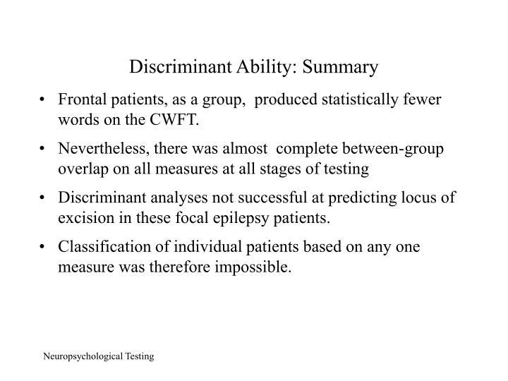 Discriminant Ability: Summary