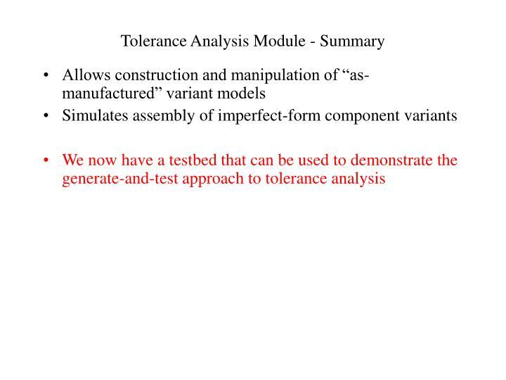 Tolerance Analysis Module - Summary