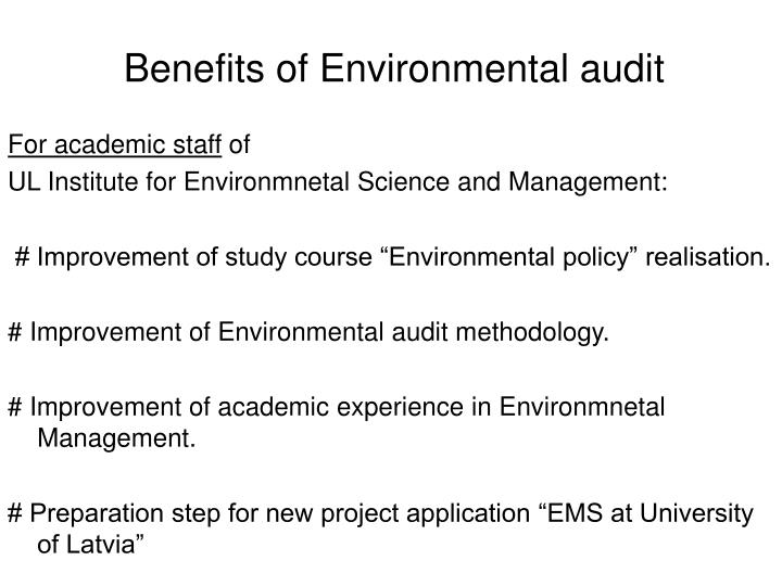 Benefits of Environmental audit