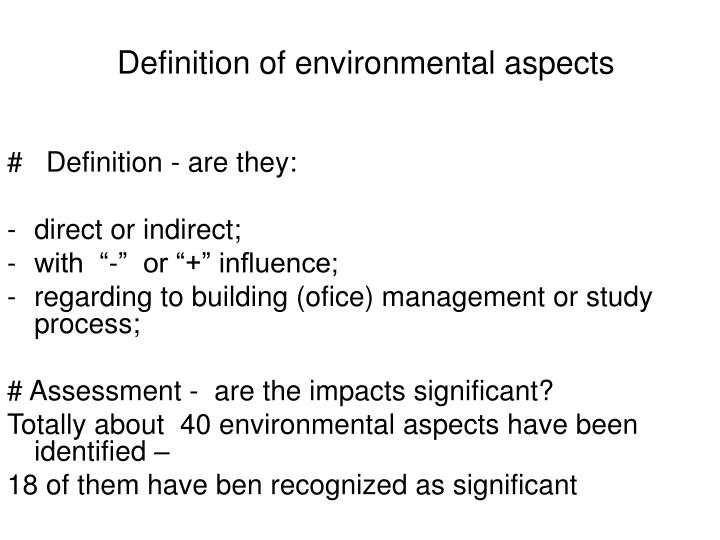 Definition of environmental aspects