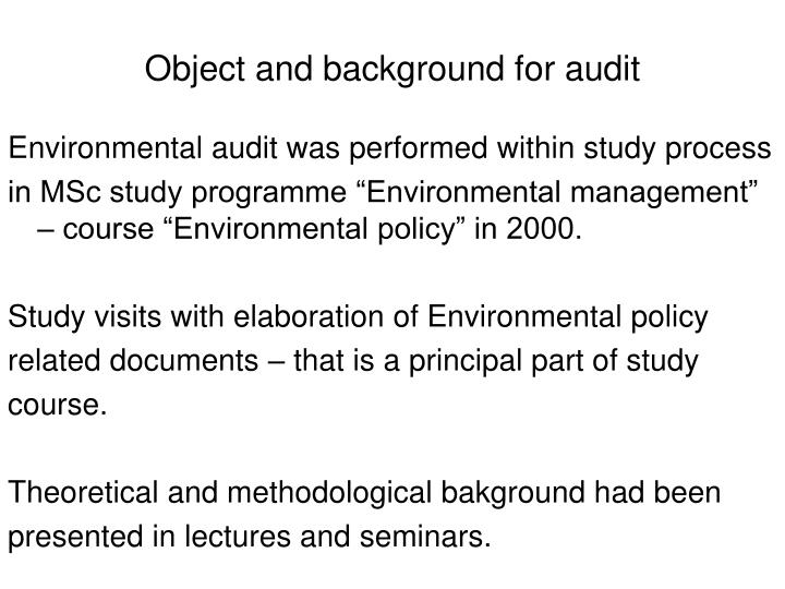 Object and background for audit