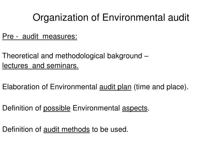 Organization of Environmental audit