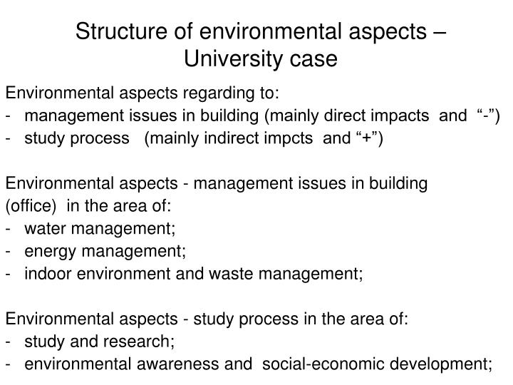 Structure of environmental aspects –