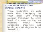 3 1 relationships between loads shear forces and bending moments