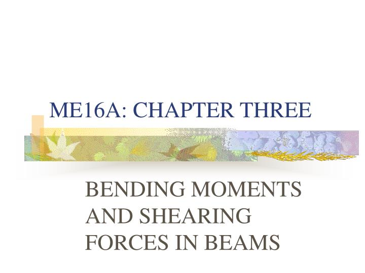 ME16A: CHAPTER THREE
