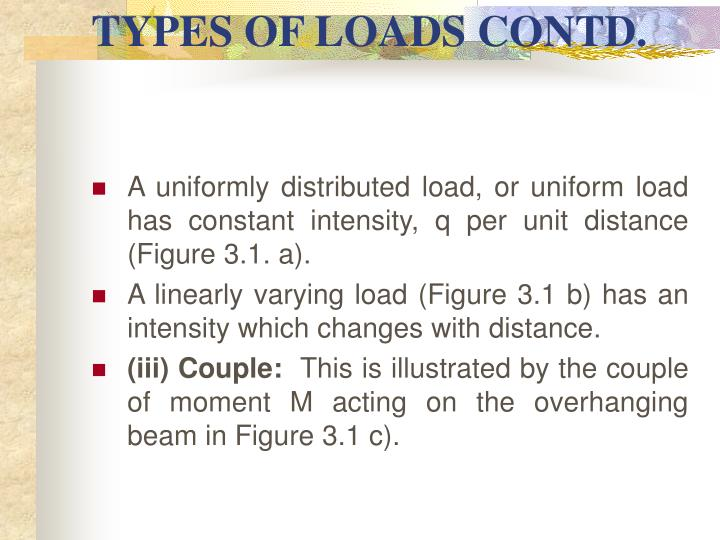 TYPES OF LOADS CONTD.