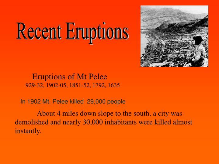 Recent Eruptions