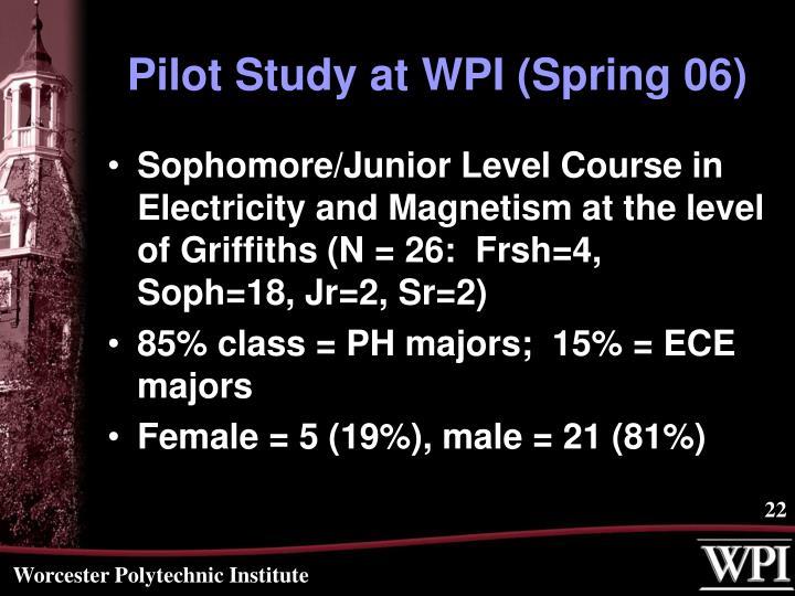 Pilot Study at WPI (Spring 06)
