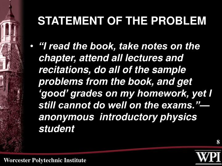 STATEMENT OF THE PROBLEM