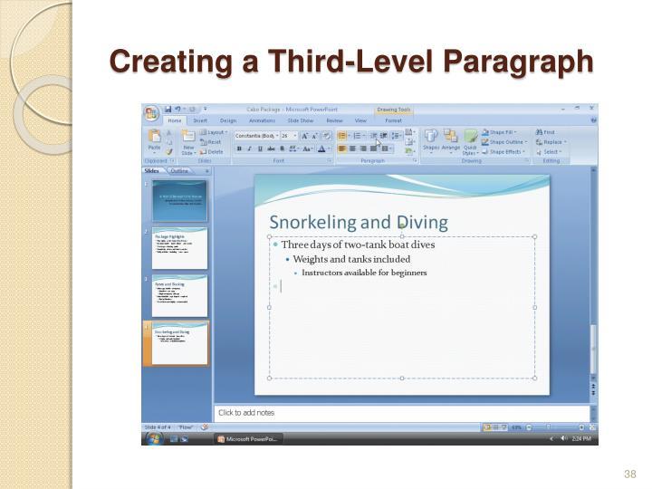 Creating a Third-Level Paragraph