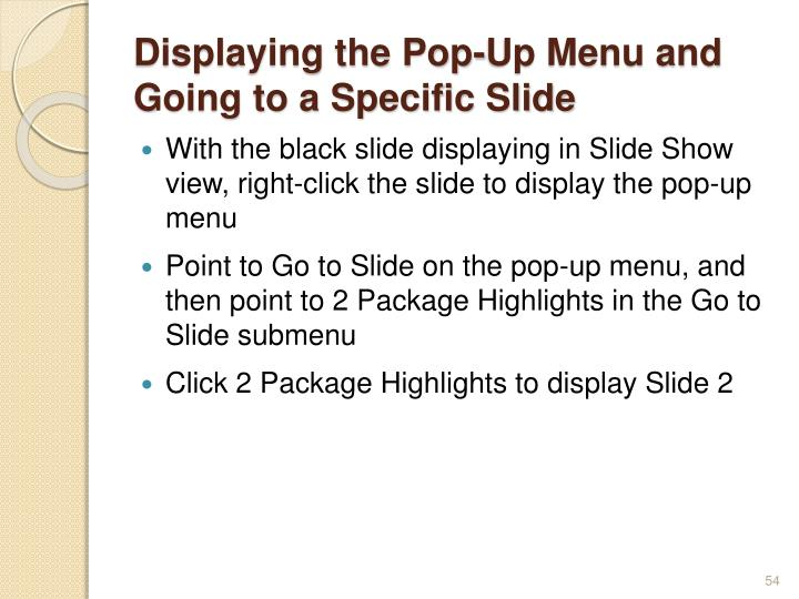 Displaying the Pop-Up Menu and Going to a Specific Slide