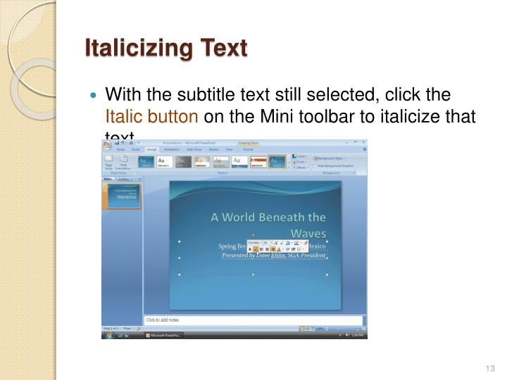 Italicizing Text