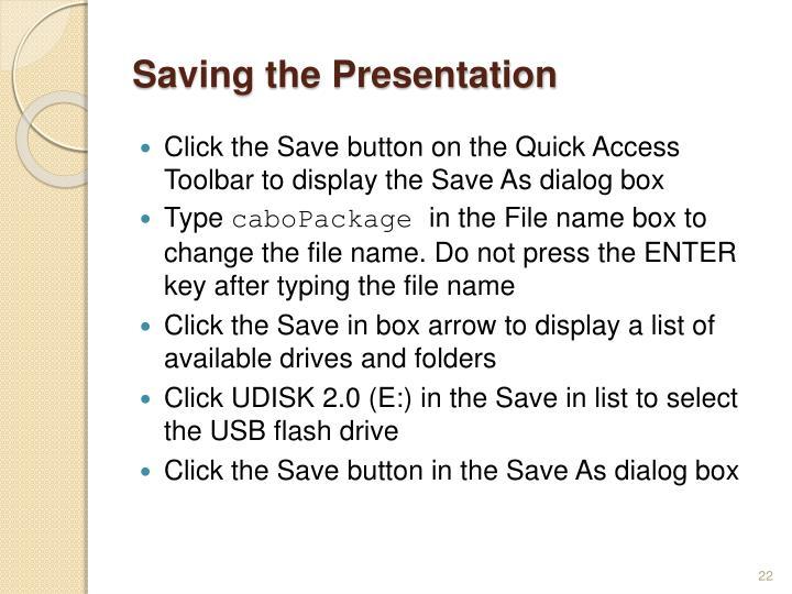 Saving the Presentation