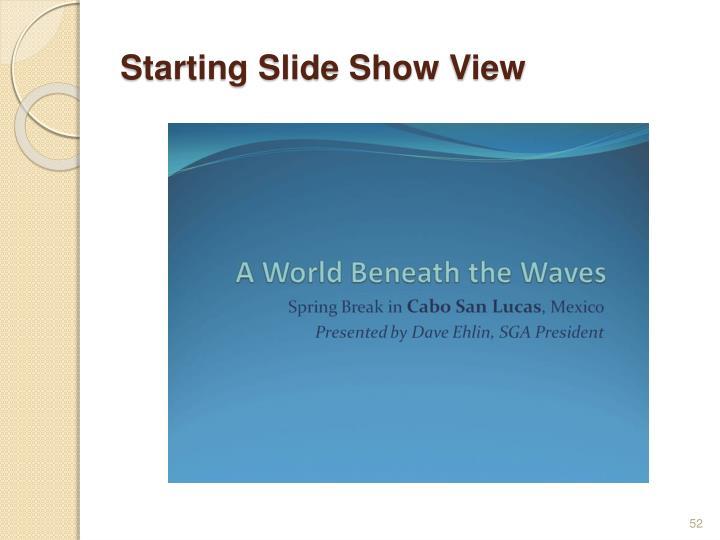 Starting Slide Show View