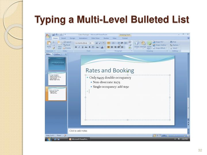 Typing a Multi-Level Bulleted List