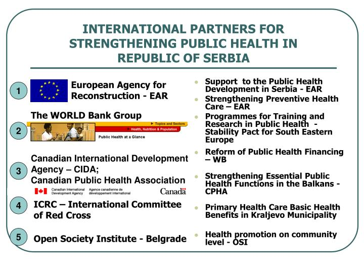 Support  to the Public Health Development in Serbia - EAR