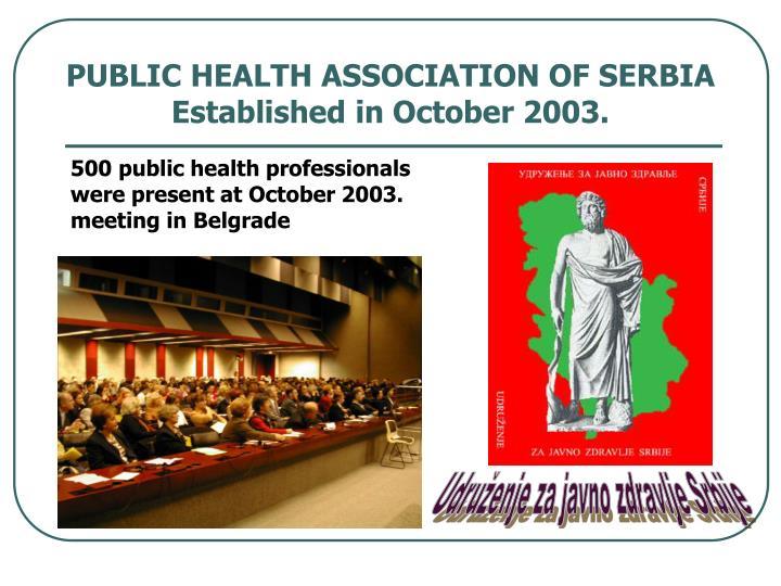 PUBLIC HEALTH ASSOCIATION OF SERBIA  Established in October 2003.