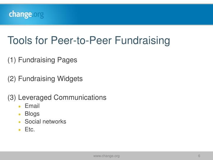 Tools for Peer-to-Peer Fundraising