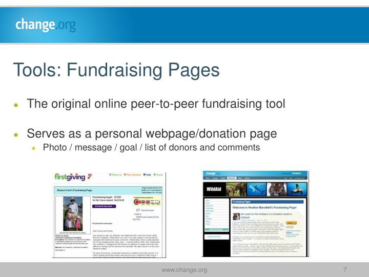 Tools: Fundraising Pages