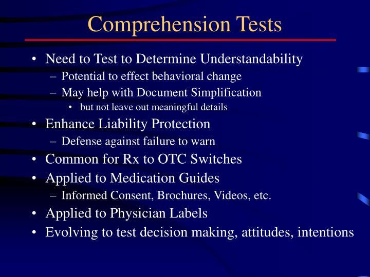 Comprehension Tests
