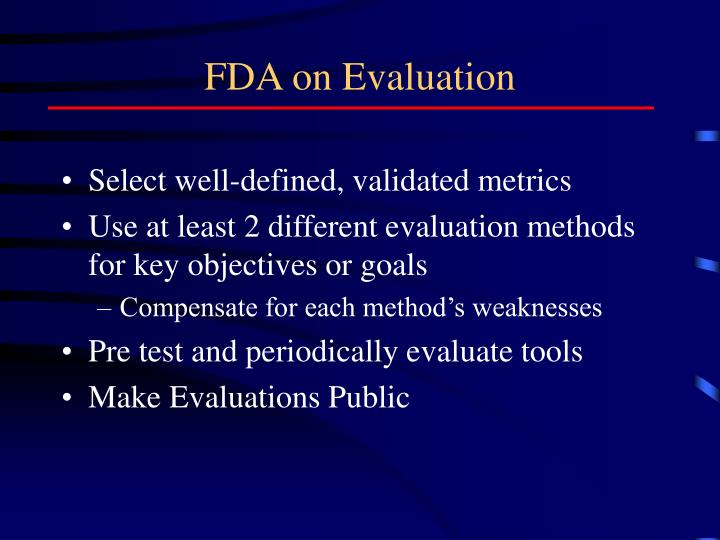 FDA on Evaluation