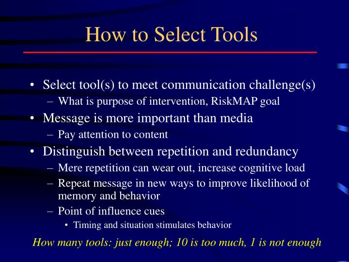 How to Select Tools