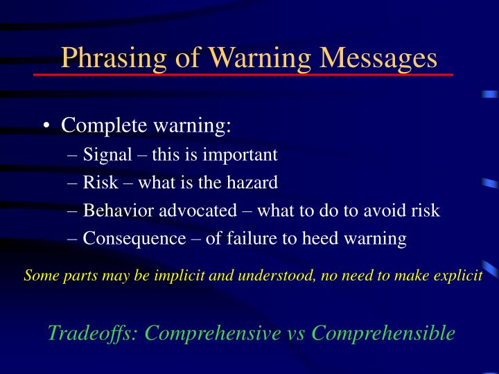 Phrasing of Warning Messages