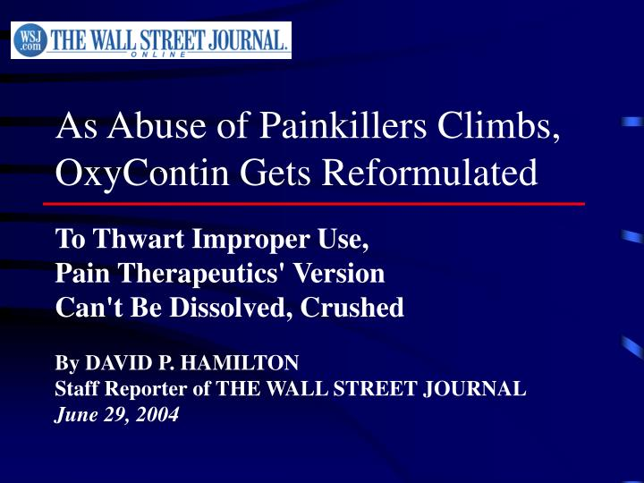 As Abuse of Painkillers Climbs,