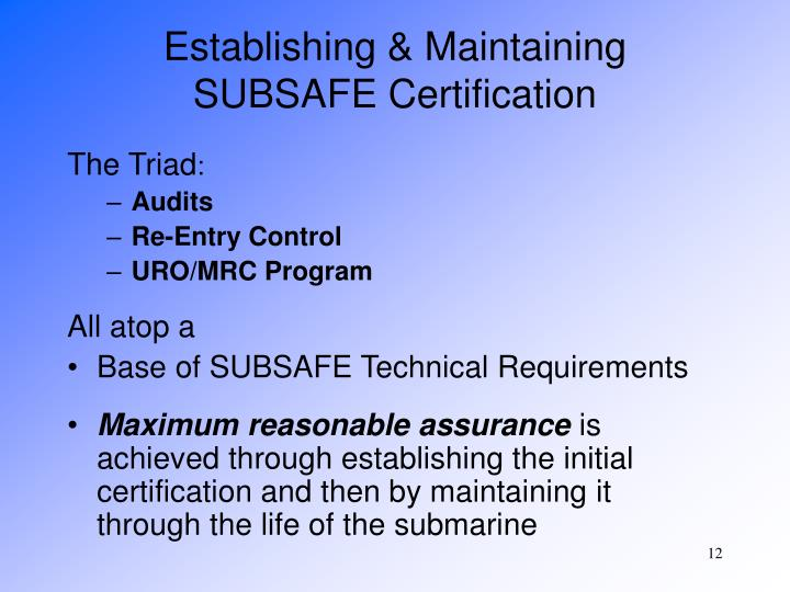 Establishing & Maintaining SUBSAFE Certification