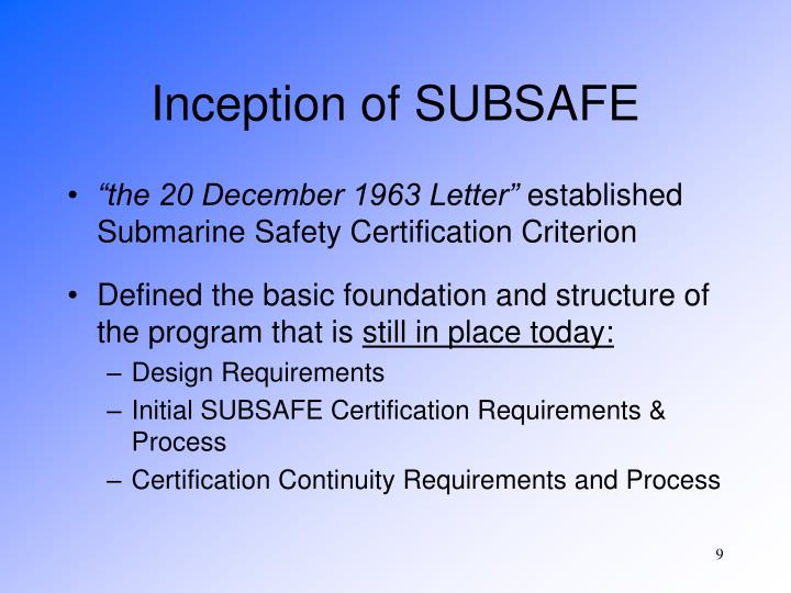 Inception of SUBSAFE