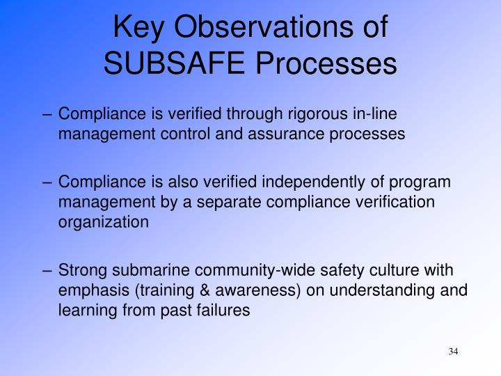 Key Observations of SUBSAFE Processes