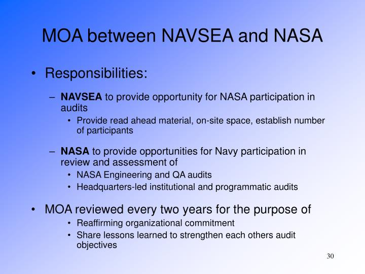 MOA between NAVSEA and NASA