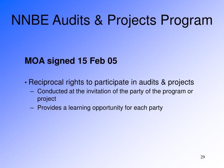 NNBE Audits & Projects Program