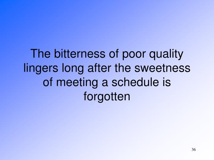 The bitterness of poor quality lingers long after the sweetness of meeting a schedule is forgotten