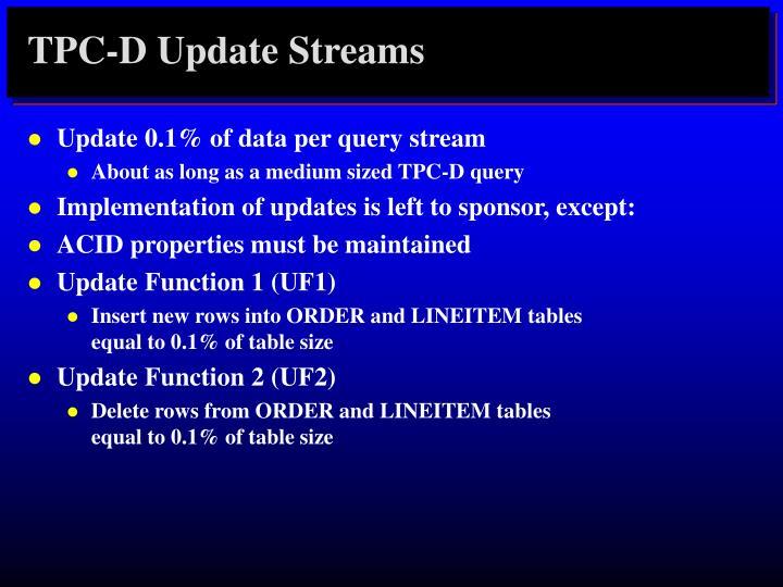TPC-D Update Streams