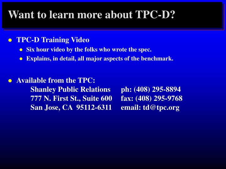 Want to learn more about TPC-D?
