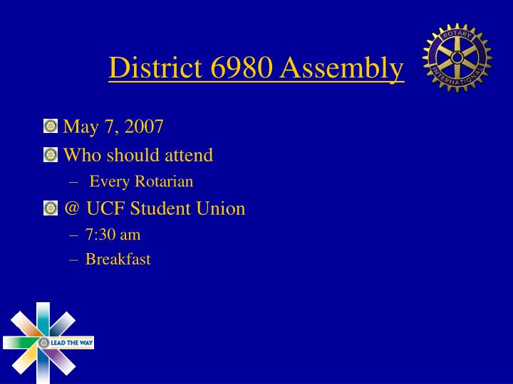 District 6980 Assembly
