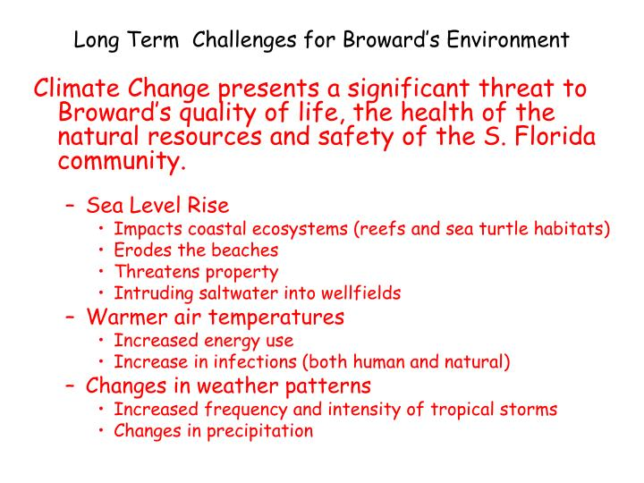 Long Term  Challenges for Broward's Environment