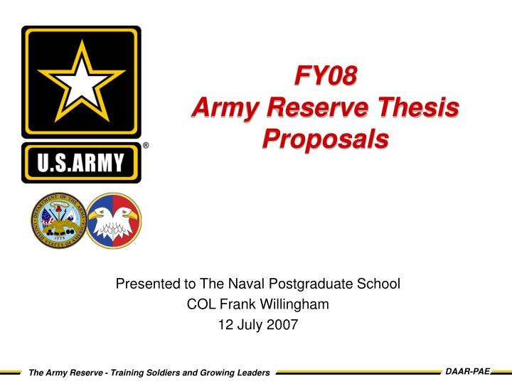 Fy08 army reserve thesis proposals