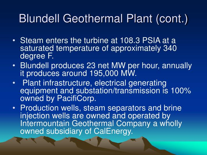 Blundell Geothermal Plant (cont.)