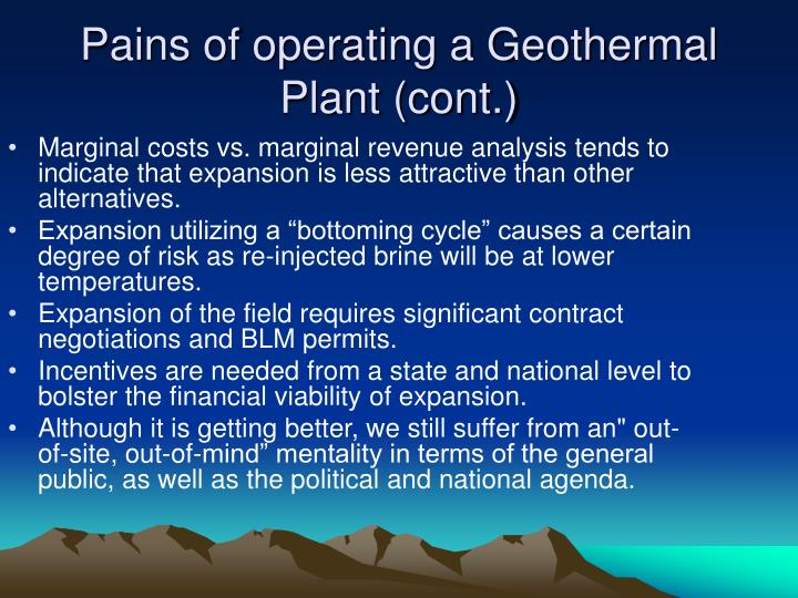 Pains of operating a Geothermal Plant (cont.)