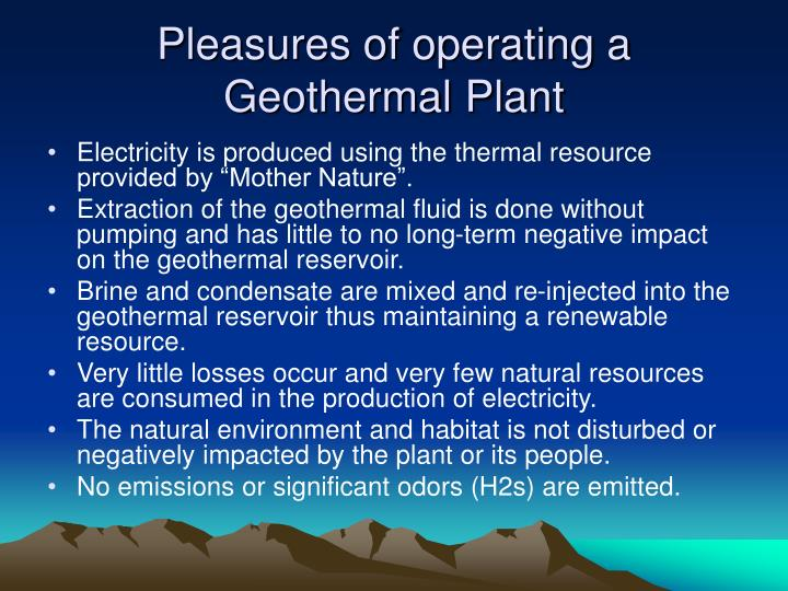 Pleasures of operating a Geothermal Plant