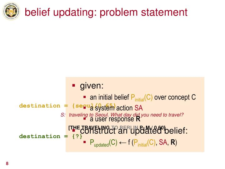 belief updating: problem statement
