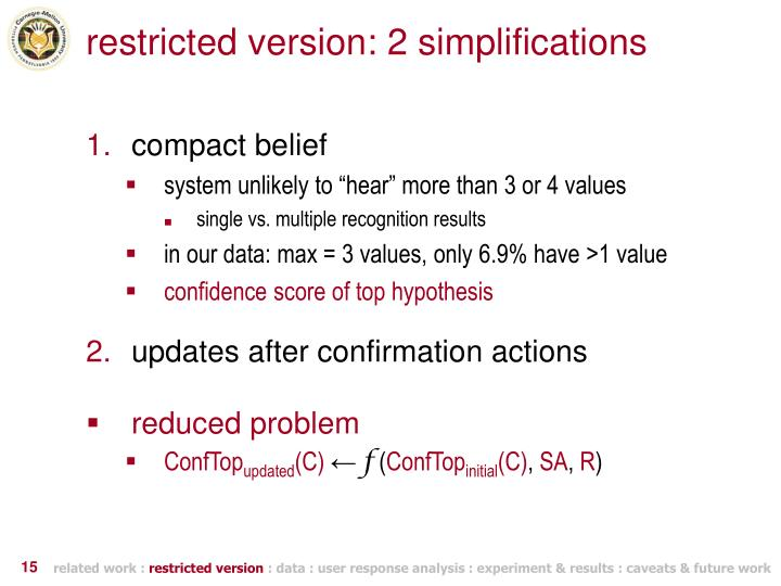 restricted version: 2 simplifications
